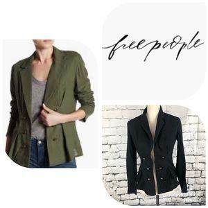 Free People• Black Linen Blend Open Jacket XS